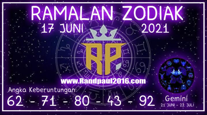 ramalan zodiak gemini hari ini 17 juni 2021